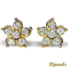 Diamond Earrings in Hallmarked Gold<br /><br />  [Rs    21,847]