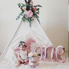 Turning That's a big milestone. Why not dress up your party with a Sugar Shacks Teepee. Birthday Girl Pictures, 1st Birthday Photoshoot, 1st Birthday Party For Girls, Girl Birthday Decorations, Baby Girl 1st Birthday, Girl Birthday Themes, First Birthday Photos, Birthday Ideas, Baby Cake Smash