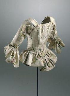 silk bodice c.1770s. interesting skirt to this jacket