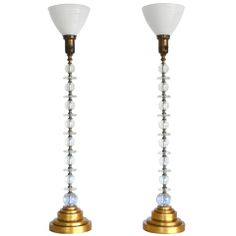 Smaller base, tapered drum shade - Pair of Mid-Century Modern Stacked Glass Table Lamps
