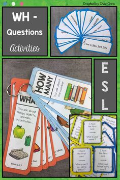 Asking WH- Questions – Activities for ESL students and young learners Asking WH-Questions is really easy with these engaging activities. Perfect for ESL students and young learners English Language Learners, Education English, Teaching English, English Resources, Language Arts, Wh Questions, This Or That Questions, Last Game, Classroom Games