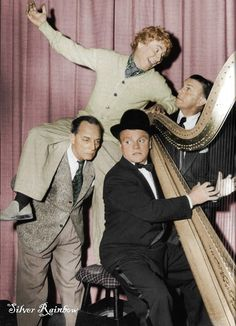 Buster Keaton, James Cagney, Harpo Marx and George Burns. Keaton, Cagney, Marx and Burns George Burns, Golden Age Of Hollywood, Vintage Hollywood, Hollywood Stars, Classic Hollywood, Hollywood Music, Hollywood Party, James Cagney, Harpo Marx