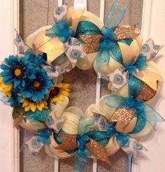 "24"" cream/turqouise/gold deco mesh wreath with sunflowers.  Deco mesh wreath, sunflower wreath, front door wreath, porch wreath"
