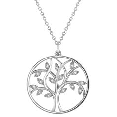 Tree of Life Pendant Necklace Diamond Accented 14k White Gold (0.15ct)