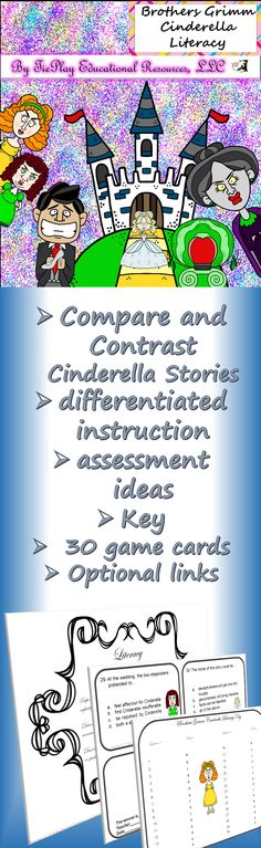 Price $5.00 It's a pair of shoes that changes Cinderella's life.The original fairy tale of Brothers Grimm, with link to printable story provided, comes alive with pre-lesson comparison contrast activities, differentiated instruction and more!   Cinderella Learning Game Board is sold separately.