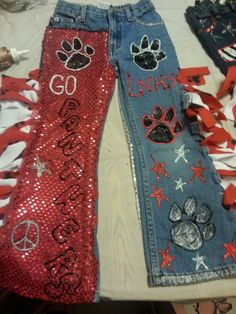 We love to show school spirit with decorated homecoming pants.