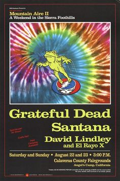 the Mountain Aire festival the summer of 1987 was the best rock concert experience of my life. A two day event in the Sierra foothills featuring the same lineup on both days, Grateful Dead, Santana, and El Rayo-X. It was a 3 hour drive from the Bay Area, everyone camped out. People arrived on Friday night, the Hells Angels rode their Harleys up and down a hill all night and kept everyone up. The sun was hot and blazing and so were the acts. My mind was blown to bits.