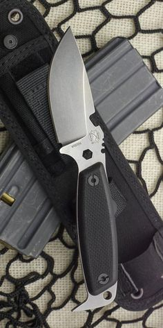 DPx Gear HEST II Milspec Fixed Blade Knife, 3.25in, German Niolox Tool Steel Blade, Black G10