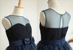 Navy Blue Tulle Chiffon Flower Girl Dress Infant by autoalive, $43.99