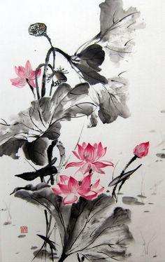 Ella Saridi - Lotus Pond, Japanese Ink Painting, Sumie, Suibokuga