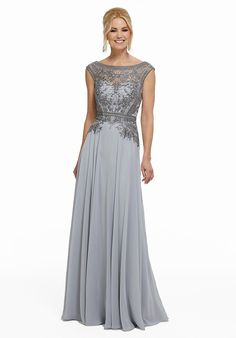 Mother of the Bride Dresses | Alexandra's Boutique MGNY Madeline Gardner New York 72002 Formal Dresses Long Elegant, Formal Dresses For Teens, Formal Dresses For Weddings, Formal Evening Dresses, Formal Gowns, Evening Gowns, Chiffon Evening Dresses, Gray Formal Dress, Lace Chiffon