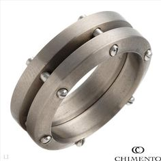 $22.00  CHIMENTO UOMO SPEED Collection Made in Italy Irresistible Brand New Gentlemens Ring in Stainless steel and Titanium- Size 5