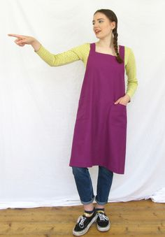 Lovely comfortable, cross back design apron, in soft loose weave linen-cotton fabric, two patch pockets for collecting bits and bobs. Incredibly comfortable, like a loose dress it's easy to wear all day - no ties around the neck, or dangly ties coming undone when your hands are covered in muckiness! A beautiful magenta, cotton-linen mix fabric has all the linen character with fewer creases. Magenta, Cotton Linen, Cotton Fabric, Work Aprons, Linen Apron, Work Wear, Hot Pink, My Design, Normcore