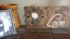 Oak Wood Love Sign with Burlap Fringe Flower by iheartsigns, $15.00