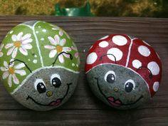 Hand Painted Ladybug Stone @ Etsy