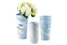 Asst. of 3 Terre Melee Tall Vases, Blue