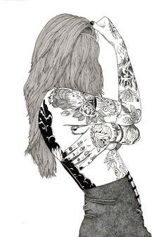 tatou girls, tatoued, art, art drawing, drawing, blackandwhite, inked girls, illustration, cool, swag