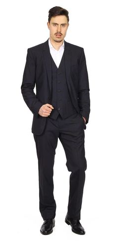 Dolce & Gabbana Martini Men's Suit with Gilet DARK BLUE #DolceGabbana #DoubleBreasted