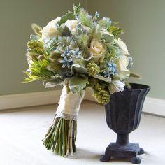 Flowers, Bouquet, Green, Blue, Ivory, Silver