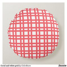 Coral and white grid round pillow Pink Cushions, White Pillows, Soft Pillows, Throw Pillows, Red Decorative Pillows, Round Pillow, Bright Pink, Soft Fabrics, Grid