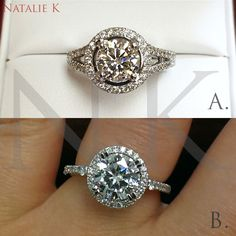 An unbroken diamond halo and flawlessly cut round center is the perfect token for an eternal love.  Choose from all our diamond halo engagement rings: http://www.nataliek.com/engagement-rings/eternelle.html/