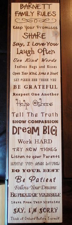 """A great idea for any family home - pick your own """"rules"""" and have a board made!  Personalized Laser Etched Family Rules Sign by MeliDesignShop"""