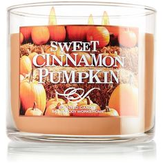3-Wick Candle Home Fragrance ❤ liked on Polyvore featuring home, home decor, candles & candleholders, candles, accessories, pumpkin candles, cinnamon candles, 3 wick candles and three wick candles