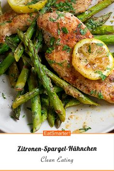 Zitronen-Spargel-Hähnchen Chicken with asparagus and lemon Lacto Vegetarian Diet, Vegetarian Recipes, Healthy Recipes, Ovo Vegetarian, Lemon Chicken With Asparagus, Kitchen Recipes, Clean Eating Recipes, Natural, Chicken Recipes
