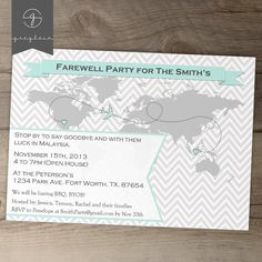 Going Away Party Invitations / World map Goodbye Party Invites / Moving Announcements - DIY Printable / custom / chevron