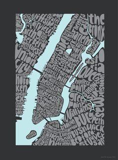 Typographic Map of New York City