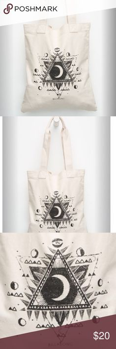 """NWT Billabong Tote Bag NWT.  Celestial print on front, cinched straps designed for comfort on the shoulder.  Canvas.  13.5"""" L x 15.5"""" W. Billabong Bags Totes"""