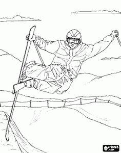 Coloriage Skieur acrobatique faire un saut acrobatique, tout en pratiquant le ski de bosses, un type de ski acrobatique