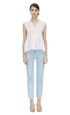 Rebecca Taylor Sleeveless Stitched Square Embroidered Top