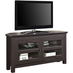 """Margo 44"""" Corner TV Stand ($275) ❤ liked on Polyvore featuring home, furniture, storage & shelves, entertainment units, home storage furniture, media shelf, shelf furniture, media furniture and locking media storage cabinet"""