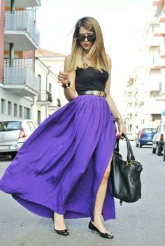 fc5997b9e Moschino Belt, Chloè Bag and that vibrant long flowing purple skirt.*~~~I  would pick a different belt, not my cup of tea~~~la
