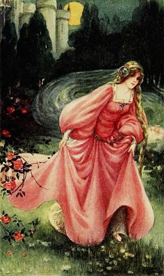Anne Anderson ~ Down the Garden~Aucassin and Nicolete~ 1911 ~via 'Took her gown in one hand before and the other hand behind, and tucked ...