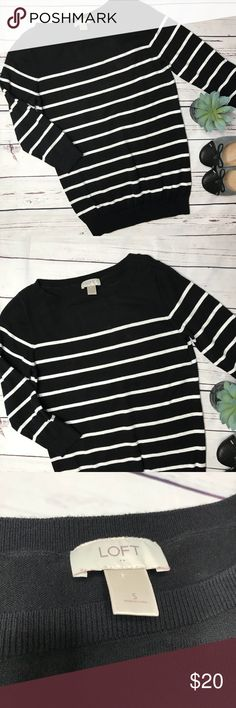 """{Loft} sz S black stripe 3/4 sleeve sweater Loft three quarter sleeve sweater black and white striped. I noted one flaw on the front that I do not find noticeable unless really looking for it. I think it shows some minor wash wear, but I did not find pilling.  Measurements approximate:  Bust: 17"""" Shoulder to hem: 26""""  Fabric content: 100% Cotton   Offers always welcome in my closet! LOFT Sweaters Crew & Scoop Necks"""