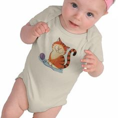Cute Orange Tabby Cat Infant Clothing.   Design features Marmalade, a ginger tabby cat playing with his first ball of wool. Created from an original painting © 2009 Lisa Marie Robinson