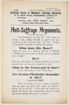 The early century saw widespread support for anti-suffragism. Dr Julia Bush looks at the people and organisations campaigning against the suffragists and suffragettes, and the arguments they used to advance their cause.