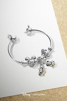 Celebrate Mickey Mouse's anniversary in style with this exquisite dangle in sterling silver and gold. Wear it with our new Pandora Mickey and Minnie Mouse open bangle in sterling silver for a sweet and chic look. Disney Pandora Bracelet, Disney Jewelry, Pandora Bracelets, Pandora Jewelry, Sterling Silver Bracelets, Silver Necklaces, Silver Earrings, Silver Ring, Earrings Uk