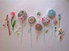 Flores en tela y crochet