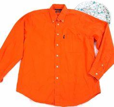 Nautica Mens Shirt Size Large Orange Long Sleeve Button Down Front Pocket o1071 #Nautica #ButtonFront
