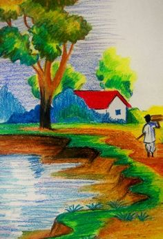 Landscape Drawings For Kids Photos Indian Village Scenery Drawing For Kids, – … – Landscaping 2020 Scenery Paintings, Oil Pastel Paintings, Oil Pastel Drawings, Oil Pastel Art, Colorful Drawings, Easy Paintings, Oil Pastels, Landscape Drawing For Kids, Scenery Drawing For Kids