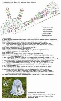 Schémy na zvončeky :-) - Her Crochet Crochet Snowflake Pattern, Crochet Flower Tutorial, Crochet Snowflakes, Crochet Motif, Crochet Designs, Crochet Doilies, Crochet Flowers, Crochet Hats, Crochet Christmas Ornaments