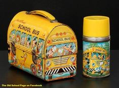 1968 Walt Disney Dome School Bus Lunch Box with Thermos . I had this very same one and now I have a Hallmark Christmas ornament of one.with thermos My Childhood Memories, Childhood Toys, Best Memories, Walt Disney, Disney Lunch Box, Lunch Box Thermos, Lunch Bags, Vintage Lunch Boxes, School Lunch Box