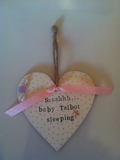 Baby shower gift. Decorated wooden heart. Baby's room. Nursery. Hanging heart.