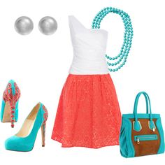 Spring/Summer Look coral and teal