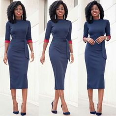 Simply Chic Fall Wedding Guest Outfits For Ladies Ideas 35 guest outfit fall guest outfit fall Grey Midi Dress, Midi Dress With Sleeves, Royal Blue Midi Dress, Navy Dress, Work Fashion, Trendy Fashion, Womens Fashion, Fashion Trends, Mode Outfits