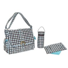 Laminated Buckle Bag - Heavenly Dots - Chocolate Blue