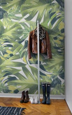 Welcome to the Jungle Wall Panel - Vibrant and fun wall panel featuring the leaves of the Monstera plant on a white background.
